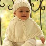 krem rengi boğazlı şapkalı bebek pançosu modeli