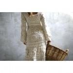 krem triko el örgüsü elbise modeli