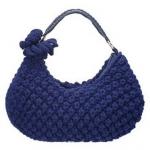 lacivert deri kulplu örgü el çantası modeli