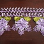 lila çiçekli havlu kenarı modeli