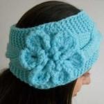 mavi çiçek desenli bandana modeli