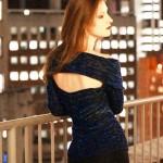 mavi arkası açık şık bluz modeli