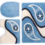 mavi beyaz çiçekli klozet takımı modeli