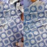 mavi beyaz yatak örtüsü örneği