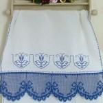 mavi dantek havlu kenarı modeli