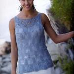 mavi kayık yakalı yazlık bluz örneği
