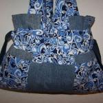 mavi kumaşka süslenmiş kot çanta modeli