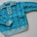 mavi saç örgülü erkek bebek kazağı
