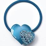 mavi taşlı kalpli lastik toka modeli