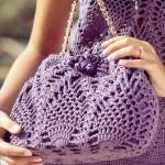mor renkli örgü lok çantası modeli