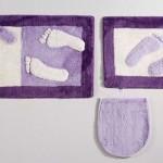 mor renkli ayak izli klozet takımı modeli