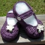mor tığ işi bebek ayakkabıları