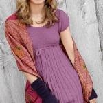 mor yarım kollu örgü elbise örneği