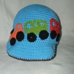 oyuncak araba desenli mavi bebek şapka modeli