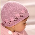 pembe çiçekli bebek şapka modeli