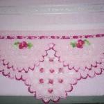 pembe çiçekli havlu kenarları