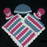 pembe çizgili şapkalı eldivenli bebek panço modeli