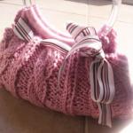 pembe örgü el çantası modeli