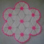 pembe beyaz çiçek desenli lif modeli