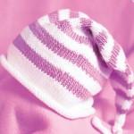 pembe beyaz çizgili bebek şapka modeli