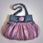 pembe düğmeli kot çanta modeli