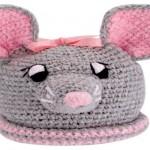 pembe kulaklı tavşan bebek şapka modeli