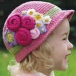 pembe lila çiçekli bebek şapka modeli