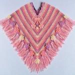 pembe lila çizgili bebek panço modeli