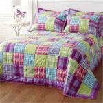 pembe mor yeşil kırkyama yatak örtüü