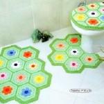petek petek renkli klozet takımı modeli