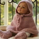 pudra rengi kapşonlu patikli bebek panço modeli