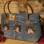 pullarla süslenmiş kot çanta modeli