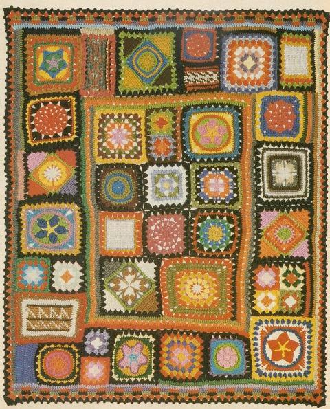 rengarenk tığ işi motifli battaniye