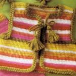 renk renk çizgili örgü bebek yeleği modeli