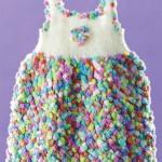 renk renk desenli örgü bebek bluzu modeli