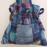 renk renk kumaşlı kot çanta modeli