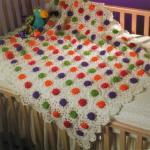 renkli çiçekli bebek battaniyesi modeli