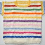 renkli çizgili kısa kol  kız çocuk bluzu