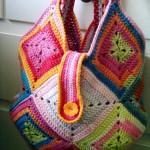 renkli düğmeli örgü kol çantası modeli