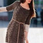 saç örgülü kahverengi triko elbise örneği