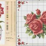 saksıda çiçek kanaviçe modeli-horz