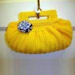 sarı çiçekli örgü çanta modeli