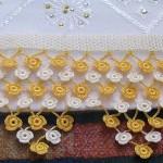 sarı beyaz çiçekli bobin dantel havlu kenar tasarım