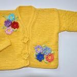 sarı kız çocuk hırkası motif süslemeli
