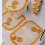 sarı papatya desenli klozet takımı modeli