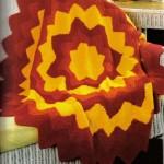 sarı turuncu yıldız desenli örgü koltuk örtüsü modeli