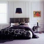 siyah motifli örgü yatak örtüsü modeli