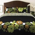 siyah yeşil çiçekli nevresim takımı modeli