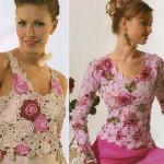 tığ işi gül ve çiçek motifli pudra renk bluzlar
