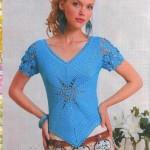 tığ işi yarım kollu mavi yıldız desenli bluz modeli